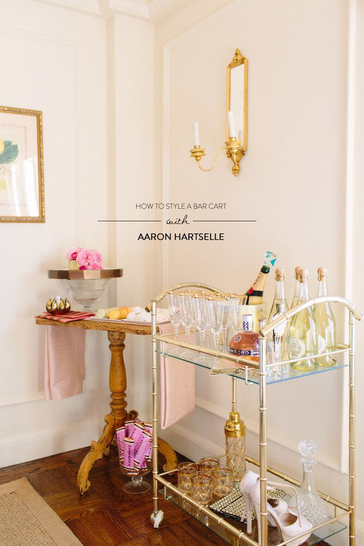 get great bar cart styling tips from http://www.bessfriday.com/ and http://aaronhartsellecreative.com/ over on SMP Living today! http://www.stylemepretty.com/living/2013/03/26/how-to-style-a-bar-cart-with-aaron-hartselle-bess-friday/