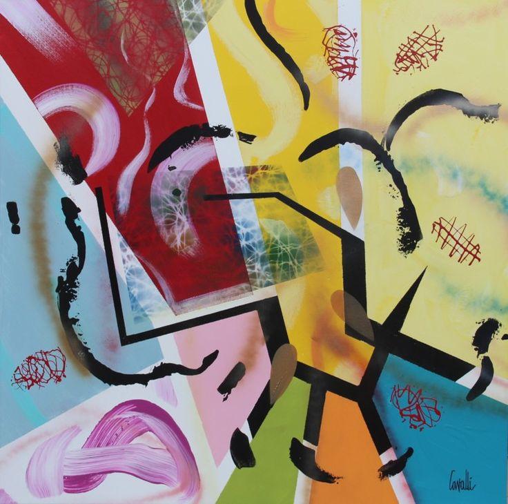 Composition 16069 - Peinture,  80x80 cm ©2016 par Pascal Cavalli -                                        Art abstrait, Art abstrait