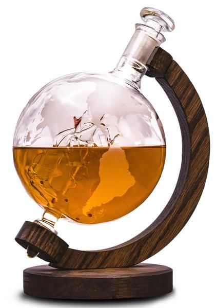 Magellan's Victoria - 1000ml Glass, Globe Shaped Liquor/Wine Decanter (Arrives Before Father's Day)