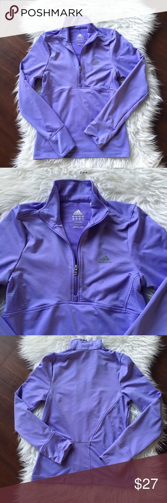 """Adidas Small Activewear Jacket zip Athletic Adidas Womens Small Activewear Jacket Quarter Zip Pullover Athletic Exercise Size small Pit to pit 16"""" Top to bottom 22"""" Polyester blend material  Quarter zip closure Pullover adidas Jackets & Coats"""
