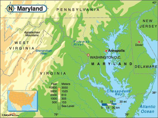 map of MD landforms   maryland elevation map courtesy of maps com ...