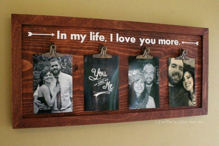 DIY wood clip photo frame wall art - fun gift idea! #SilhouetteCAMEO #SilhouettePortrait #SilhouetteProject via A Turtle's Life for Me