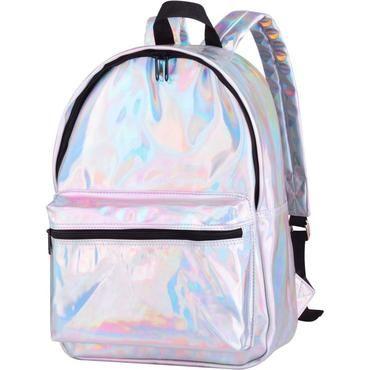 011e7072cf New 2018 Grils Silver Hologram Laser School Backpacks PU Leather Holographic  Backpackintothea