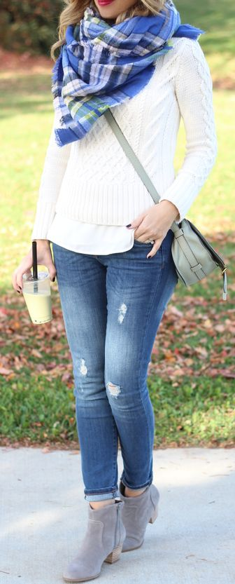 white sweater, white shirt, plaid scarf, light ripped jeans, ankle boots
