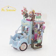 3D Pop Up Wenskaarten Handgemaakte Kirigami Origami Bloem Auto Voertuig Valentijnskaarten Dag Verjaardag Pasen Geschenken Uitnodigingen Kaarten(China (Mainland))
