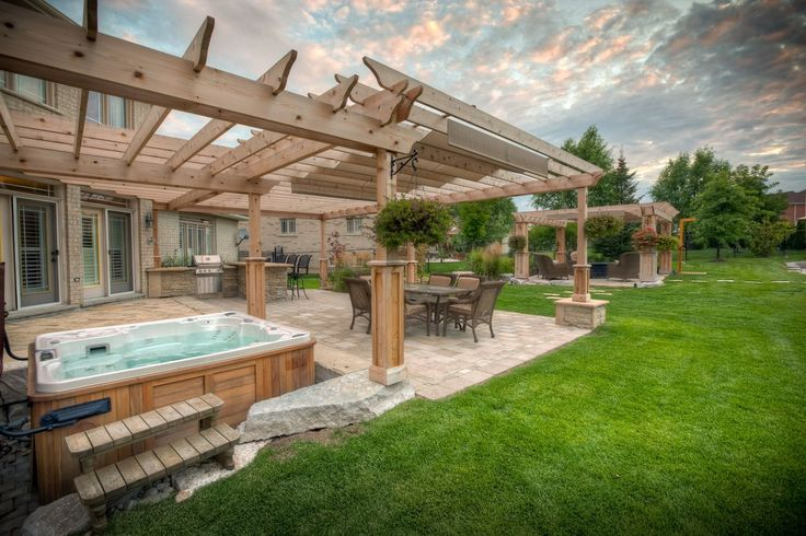 outdoor   backyard deck designs with hot tub ideas   deck with pergola and hot tub ideas on