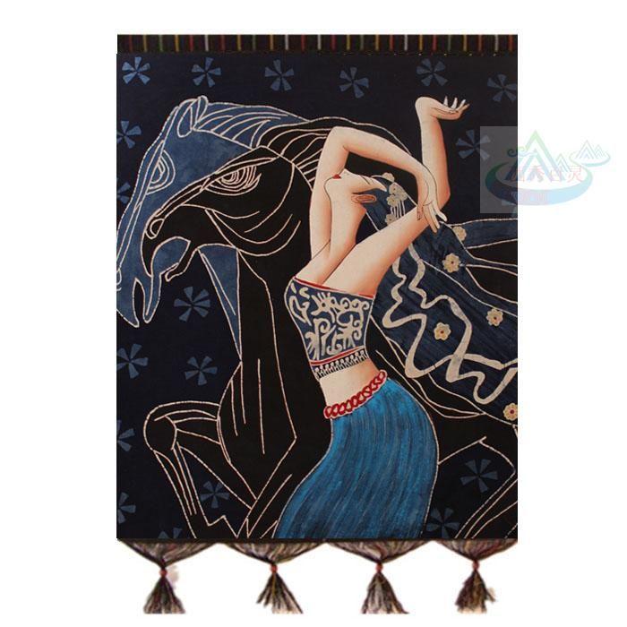 贵州特产安顺苗族特色手工壁挂无框手绘民族工艺品布画重彩画蝶女-淘宝网