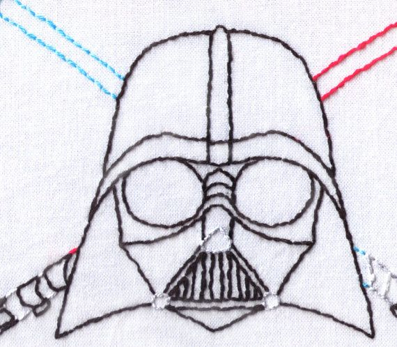 Death Vader Hand Embroidery Pattern- May the force be with you, or not… This pattern features someone that is unlikely to win father of the year in a galaxy far, far, away. It also features two light up sabers, one from his youth and one towards the end of his life. This one makes a great gift for science fiction fans and anyone that is truly in touch with their inner dark side. May the 4th is coming up…  A colorized line pattern and black and white pattern are included in this one. Measures…