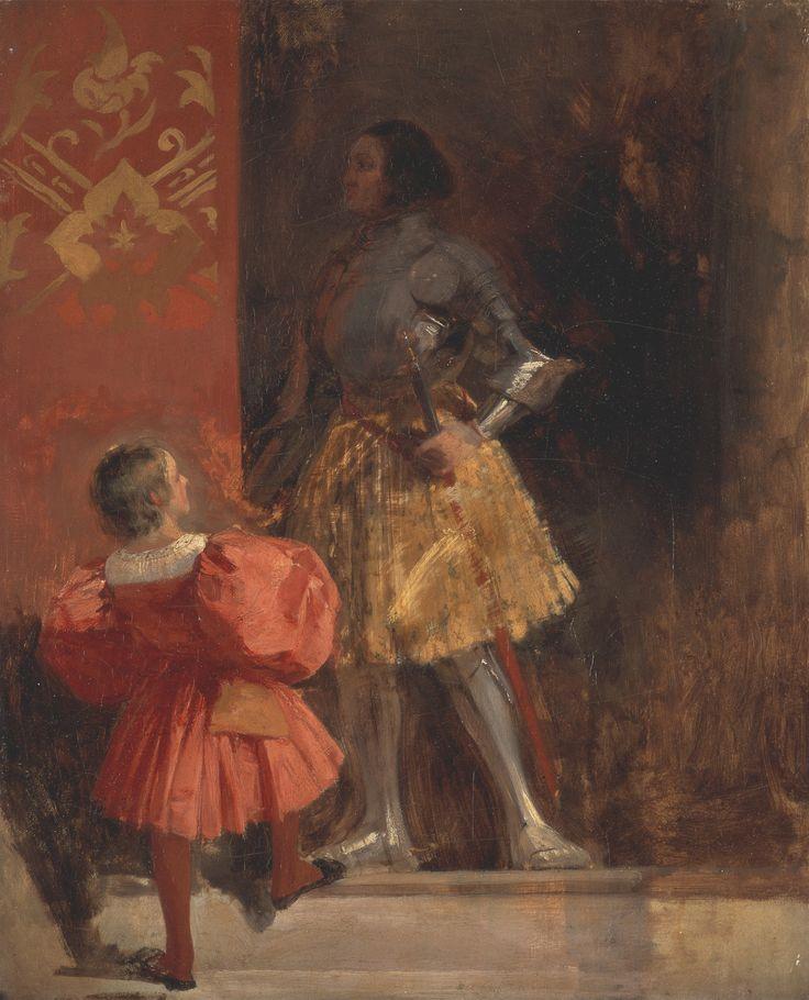 """Richard Parkes Bonington - A Knight and Page (from Johann Wolfgang von Goethe's """"Götz von Berlichingen"""")."""