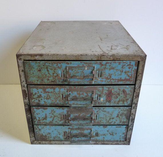 Vintage Metal Tool Chest 4 Drawer Desktop Cabinet Utility