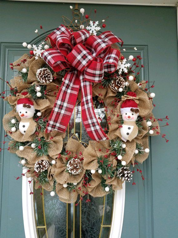 Front Door Wreath Burlap Christmas Wreath Plaid Red White Black Wreath Rustic Wreath Rust Rustic Christmas Wreath Christmas Wreaths Holiday Wreaths Christmas