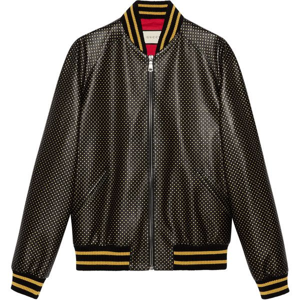 Gucci Guccy Leather Bomber Jacket ($4,960) ❤ liked on Polyvore featuring outerwear, jackets, leather & casual jackets, men, ready-to-wear, mens leather flight jacket, men's outerwear, mens zipper jacket, mens zip jacket and g star mens jacket