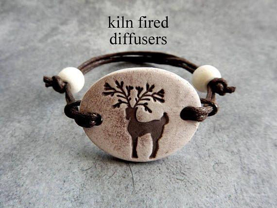Reindeer Painted Adjustable Diffuser Bracelet for Essential Oils