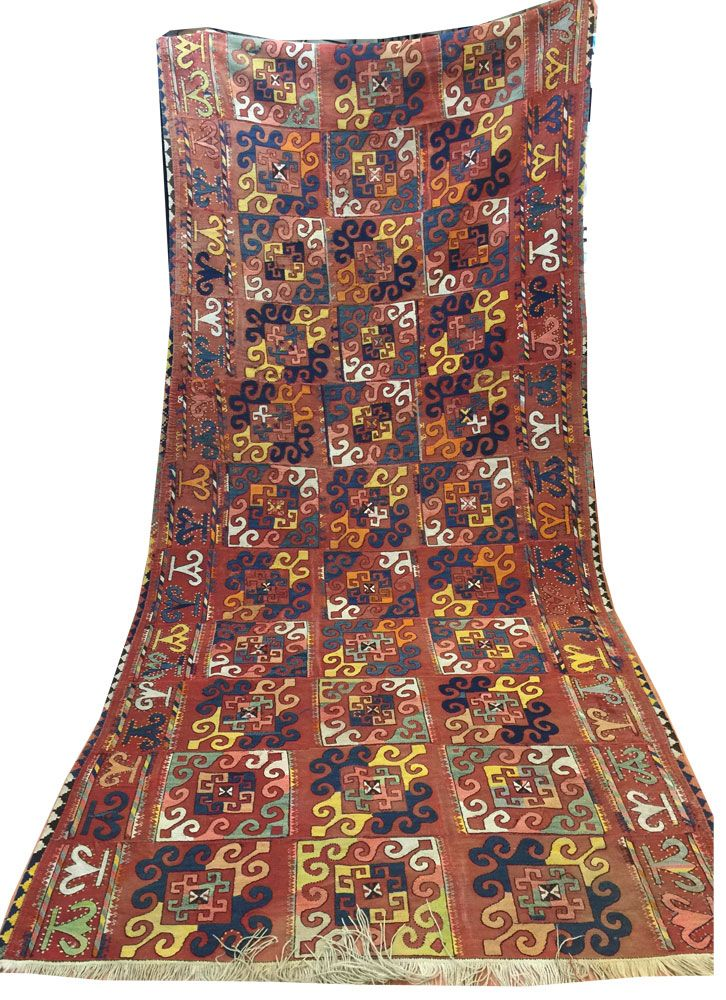 """An attractive handmade Uzbek Kilim circa 1920 measuring 360x160cm (11.8'x5.2"""") in decorative panel design with the multi-colour field. This Kilim has been professionally restored and is now in very good condition."""