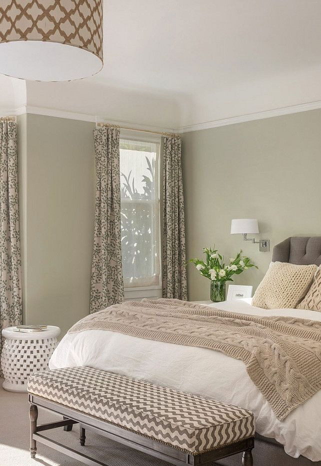 Beautiful neutral bedroom full of texture and pattern which keeps it from ever being boring. Great for master or guest room.
