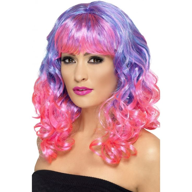 Party pruik roze en paars voor dames  Dames pruik met roze en paarse krullen. Lange pruik voor dames met roze en paars gekleurd haar een rechte pony en golvend haar. Deze extravagante diva pruik is een leuke party accessoire!  EUR 12.50  Meer informatie