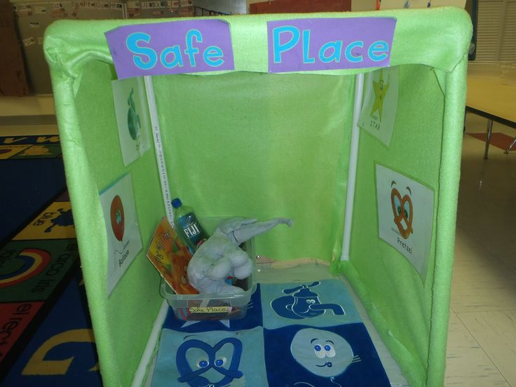 "Conscious discipline safe place made with pvc and felt. Pictures are attached with velcro so that students can take them down when needed. We also included a ""cranky bottle"", feelings book, happy book and stuffed animal."