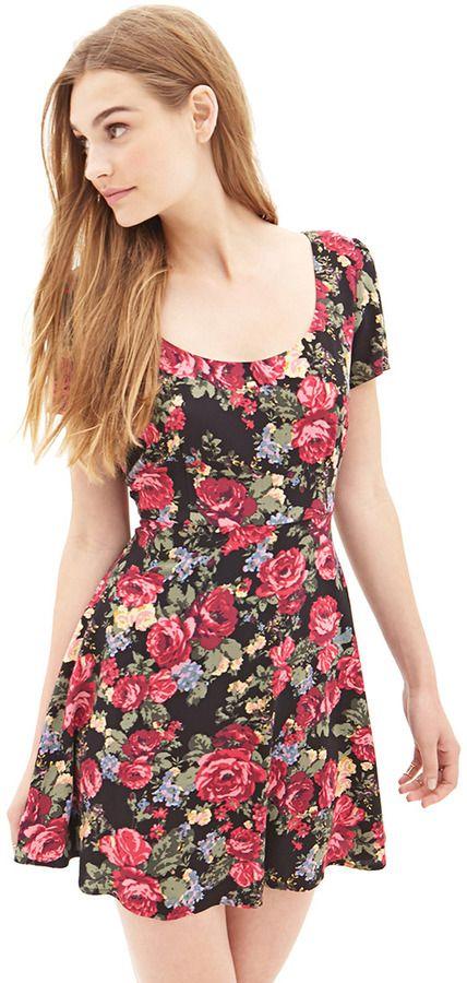 Black Floral Skater Dress by Forever 21. Buy for $17 from Forever 21