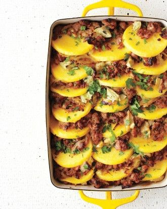 "See the ""Baked Polenta with Sausage and Artichoke Hearts"" in our Polenta Recipes gallery"