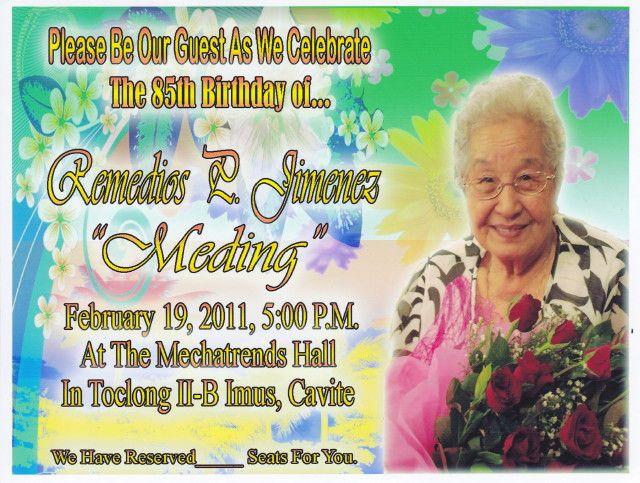 Free Birthday Party Invitations For 85th Birthday