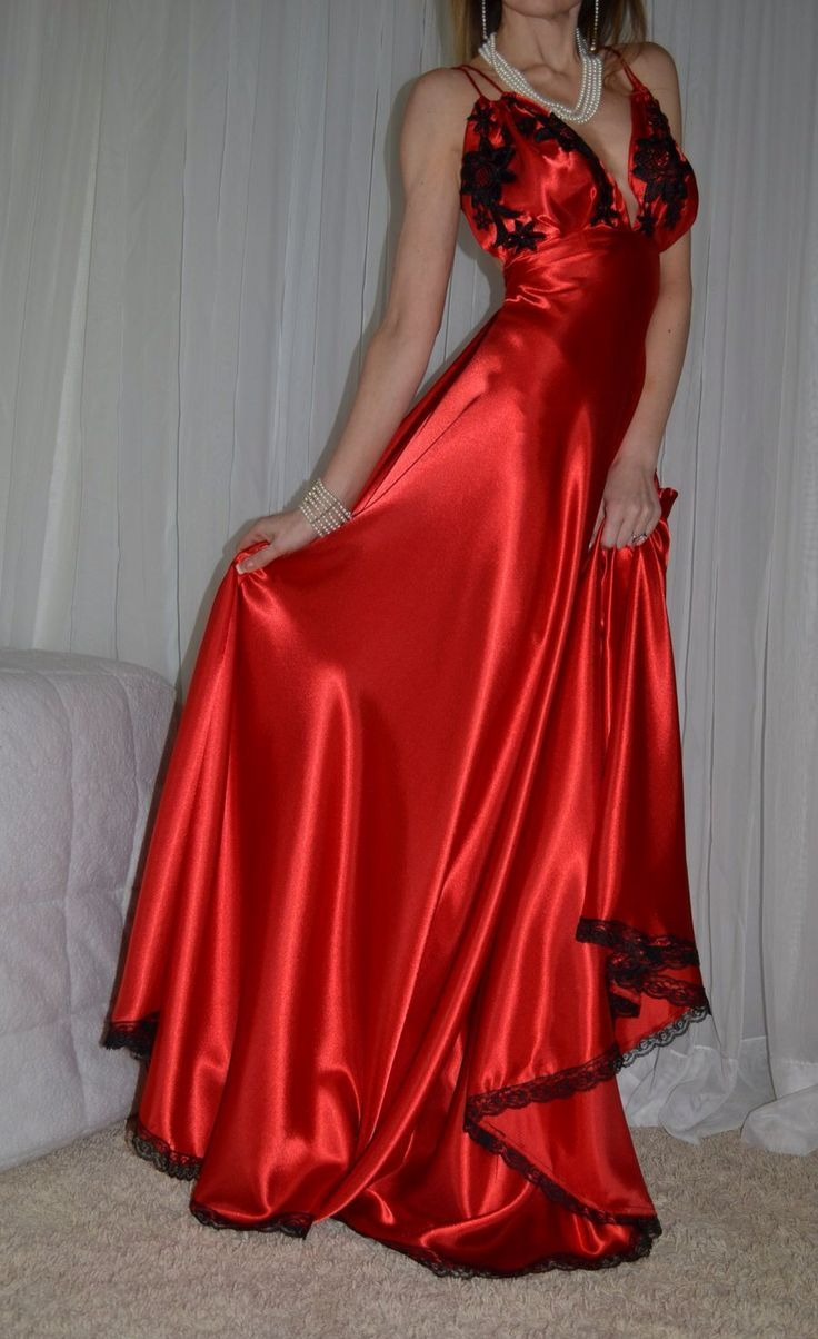 Red satin night dress