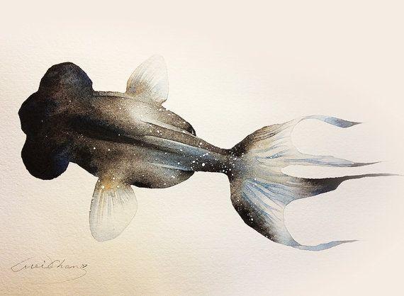 Watercolor Painting - Black Moor Goldfish illustration