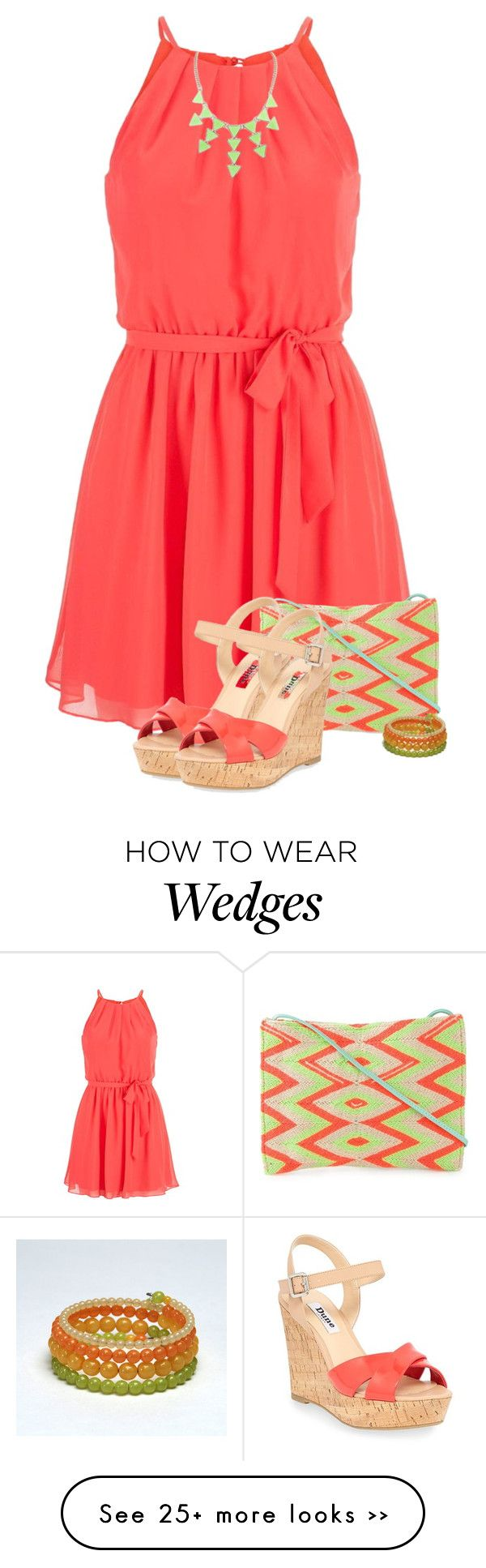 """Coral Dress"" by barbarapoole on Polyvore"