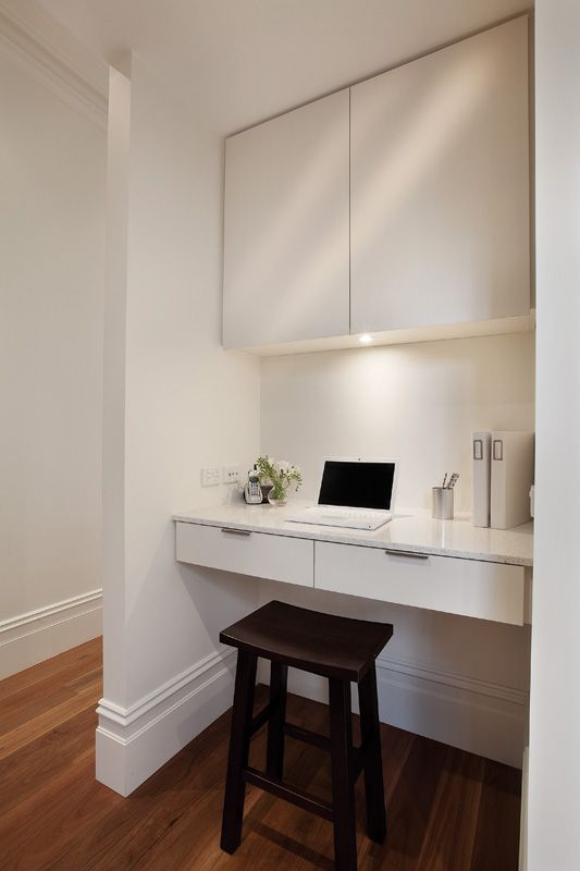 Desk idea. Beautiful Home by Jo McIntyre THIS IS THE 'Desk' idea with the cupboard forming the desk for the printer etc, NEATNESS!