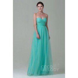 Luxurious Sheath-Column Sweetheart Natural Floor Length Tulle Sleeveless Zipper Bridesmaid Dress with Pleating COZF1500E