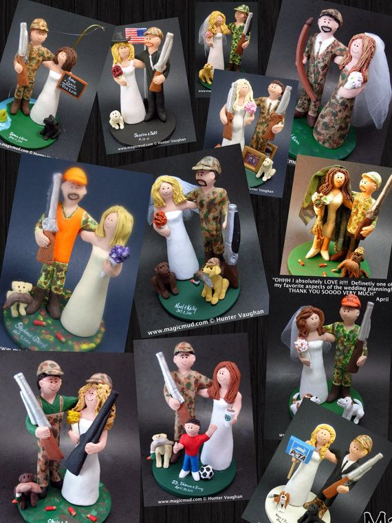 Hunting Groom Wedding Cake Topper, Custom Made Hunter's Wedding Cake Topper - Redneck Wedding Cake Topper - Bow Hunters Wedding Cake Topper    This photographed listing is but an example of what we will create for you....simply email or call toll free with your own info and pictures of yourselves, and we will sculpt for you a treasured memory from your wedding!    $235 #magicmud 1 800 231 9814 www.magicmud.com