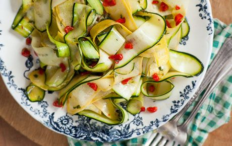 Thinly sliced summer squash fills in as a flavorful no-cook pasta salad at your next cookout or picnic. Enjoy with grilled sausages, on a grilled chicken sandwich or over a bed of mixed greens.