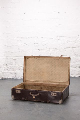 1950's brown leather suitcase.  If you like this check out our shop http://industrialthings.com/