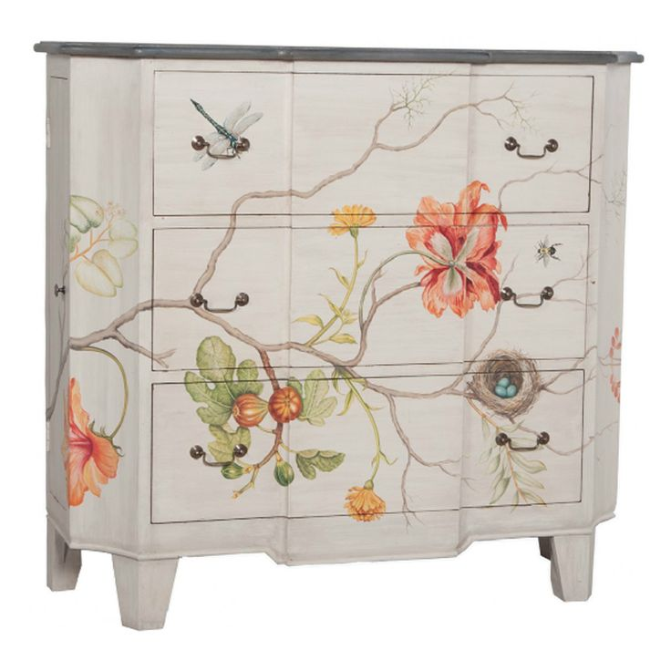 """Manor White Wash and hand-painted floral art on solid wood three drawer chest. Manor Carriage finish on chest top. Antiqued bail pull hardware. Product Features: • Height: 48"""" • Width: 52"""" • Length: 1"""