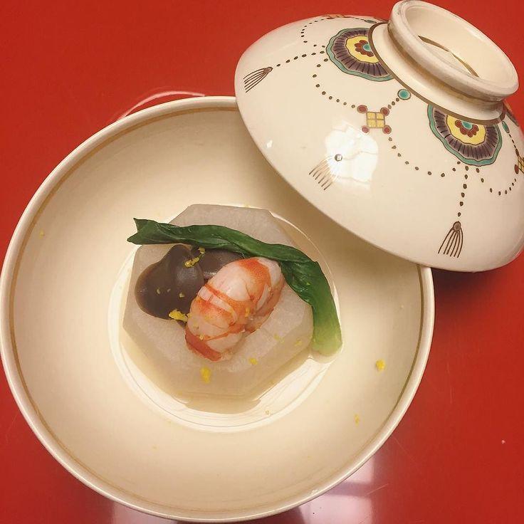 subtlety at its finest- simmered dish - kyoto turnip king prawn shimeiji mushroom greens and sprinkled yuzu citron by bambi16