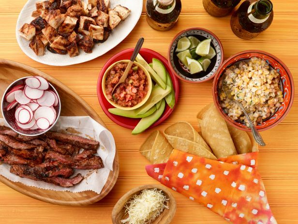 Recipe of the Day: DIY Taco Bar  Marinate chicken and steak in a smoky mixture of chipotles and brown sugar, then grill them and serve with a buffet of classic taco toppings.  #RecipeOfTheDayDiy Tacos, Food Network, Taco Bar, Mr. Tacos, S'Mores Bar, Mexicans Food, Bar Recipe, Steak Tacos, Tacos Bar