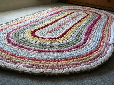 The most popular items to crochet with fabric strips are rugs. This one was crocheted by New England Quilter.