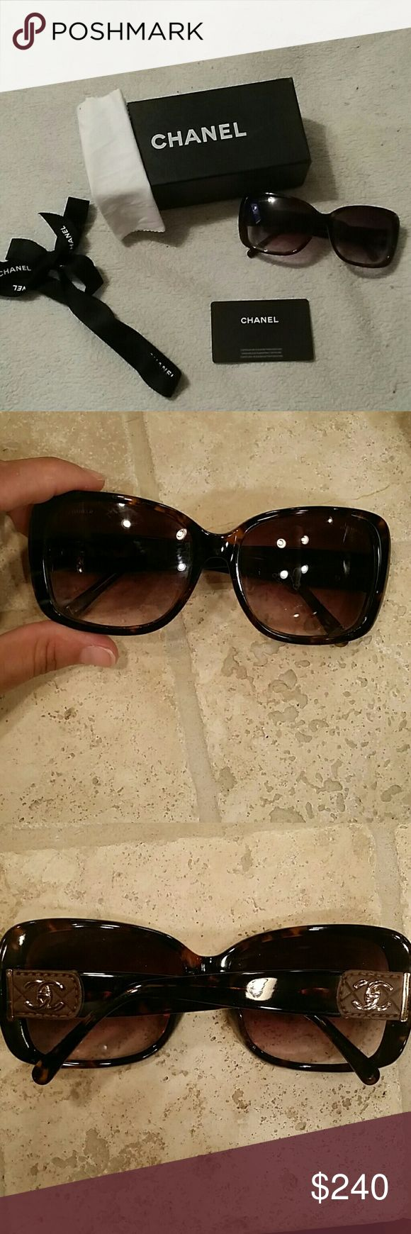 Chanel Sunglasses-100% Authentic Brown  with Gold Accents..100% authentic..Chanel Sunglasses  are like new with no scratches,  scrapes or imperfections. Comes with Chanel box, Chanel card, and Chanel sunglass cloth. I have misplaced the case. CHANEL Accessories Sunglasses