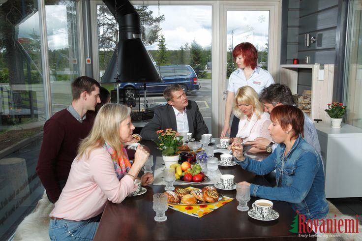 Kieppi –Rovaniemi Log House Head Office. Terrace and fireplace.