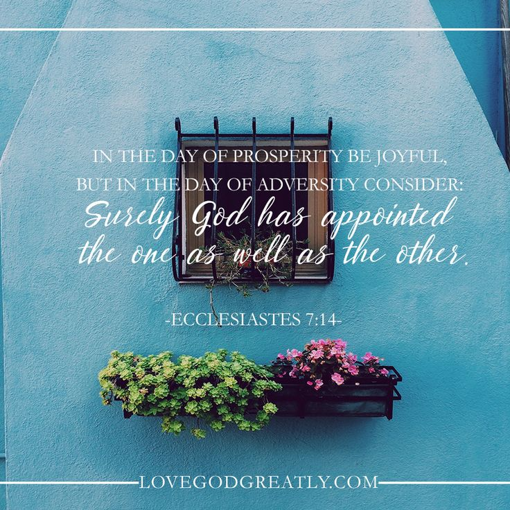 """In the day of prosperity be joyful, but in the day of adversity consider: surely God has appointed the one as well as the other."" Ecclesiastes 7:14 Remain Steadfast- http://lovegodgreatly.com/remain-steadfast/"