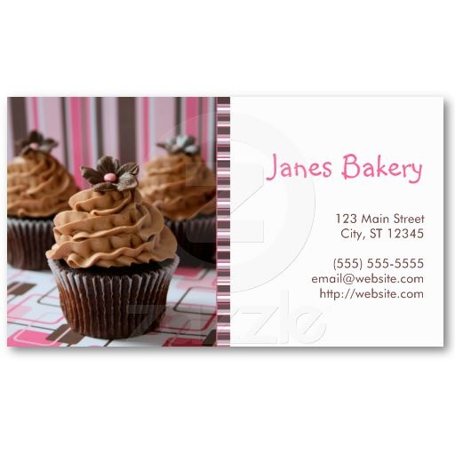 36 best cupcake business cards and stickers images on pinterest pink brown cupcakes business card fbccfo Gallery