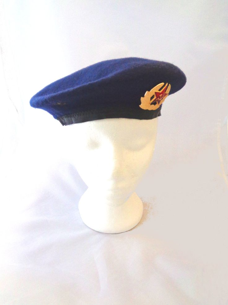 Vintage Soviet military paratrooper cap hat beret genuine army surplus hammer & sickle badge fancy dress stage costume collectible militaria by IrishBarnVintage on Etsy