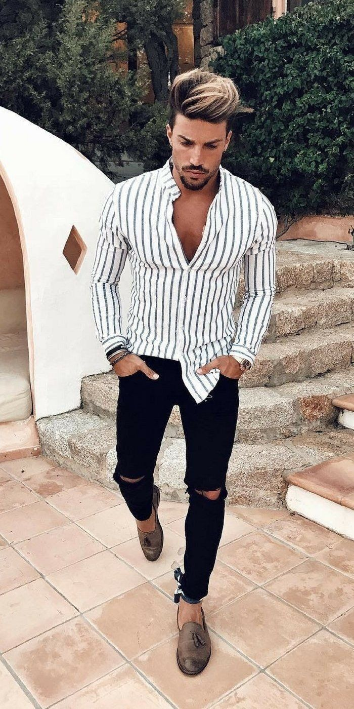 7d39f67932ab Casual summer outfit inspriation with a button up shirt with wrist  accessories striped banded collar ripped skinny black jeans brown tassel  loafers.