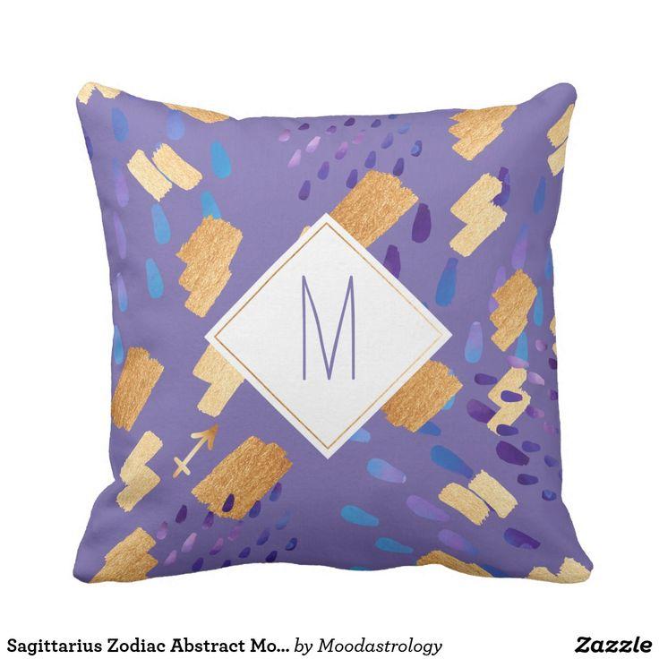 Sagittarius Zodiac Abstract Monogram Purple Pillow #Sagittarius #ZodiacGifts