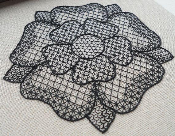 Blackwork Tudor Rose pattern PDF