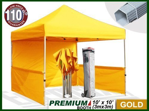 """Eurmax Premium Ez up Canopy Booth Bonus Awning and 4weight Bag(10x10 Feet, Gold) by Eurmax. $449.95. Wheeled bag with 4.7"""" wheels,The Best design and easy to handle even on rough ground. Wall Side Kit :300 Denier Polyester,Water Resistant,100% UV Protection.wall package includes:One(1)Solid walls + Two(2)1/2walls +Four(4)Weight bag. Frame:Heavy duty Alumix Construction(Frame weight:60.6LBS).Powder Coated,Full Truss Design,Leg size:1.77 inch Hexagon ,Adjustable Height,No Tools N..."""