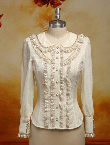 Blusa de Lolita elegante bege branco Chiffon Manga comprida - Milanoo.com