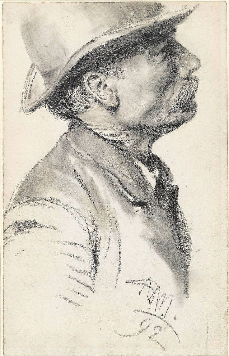 Schnauzbrtiger Mann mit Hut,1892 by Adolph von Menzel (1815-1905)
