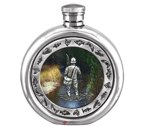 Round Hip Flask Pewter 6oz Colour Encapsulated Fisherman by iLuv. $83.00. Round Hip Flask Pewter 6oz Colour Encapsulated Fisherman. Round Hip Flask Pewter 6oz Colour Encapsulated Fisherman This 6oz Colour Encapsulated Hip Flask is a Popular Gift with a Country Sport theme for every one who loves the outdoors and sports and animals, a great 18th or 21st Birthdays or as a general Gift for Him. Featuring a Country Sport Scene theme this is a Great Gift for the outdoor ...