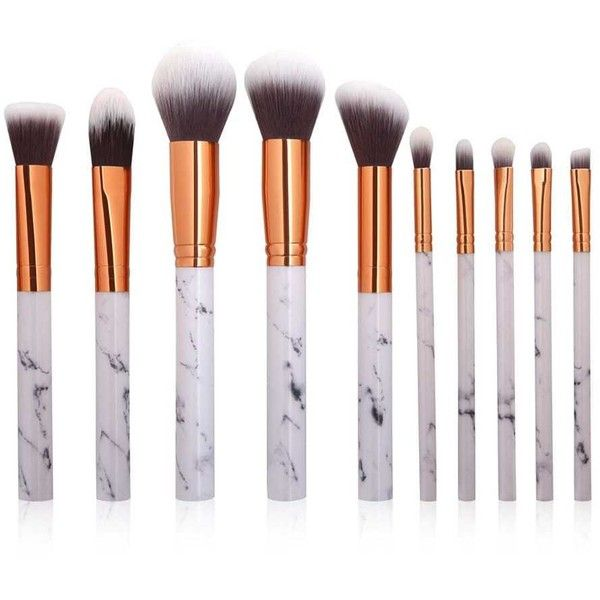 10Pcs Marbling Handle Facial Makeup Brushes Kit (39970 PYG) ❤ liked on Polyvore featuring beauty products, makeup, makeup tools and makeup brushes