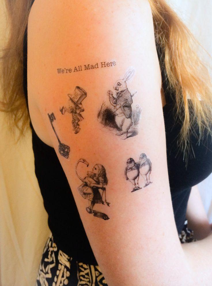 6 Alice in Wonderland Temporary Tattoos SmashTat by SmashTat, $11.00
